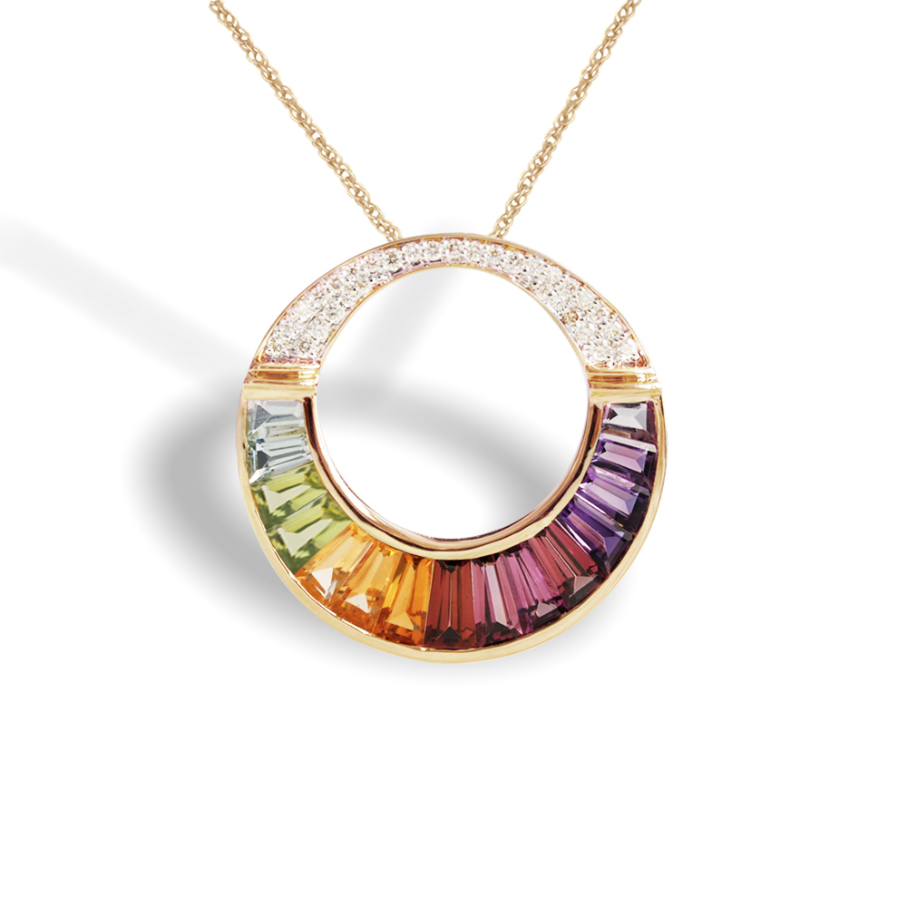 Multicolor Cleopatra Pendant Jaipur Jewels - Tapered Baguettes Specialist