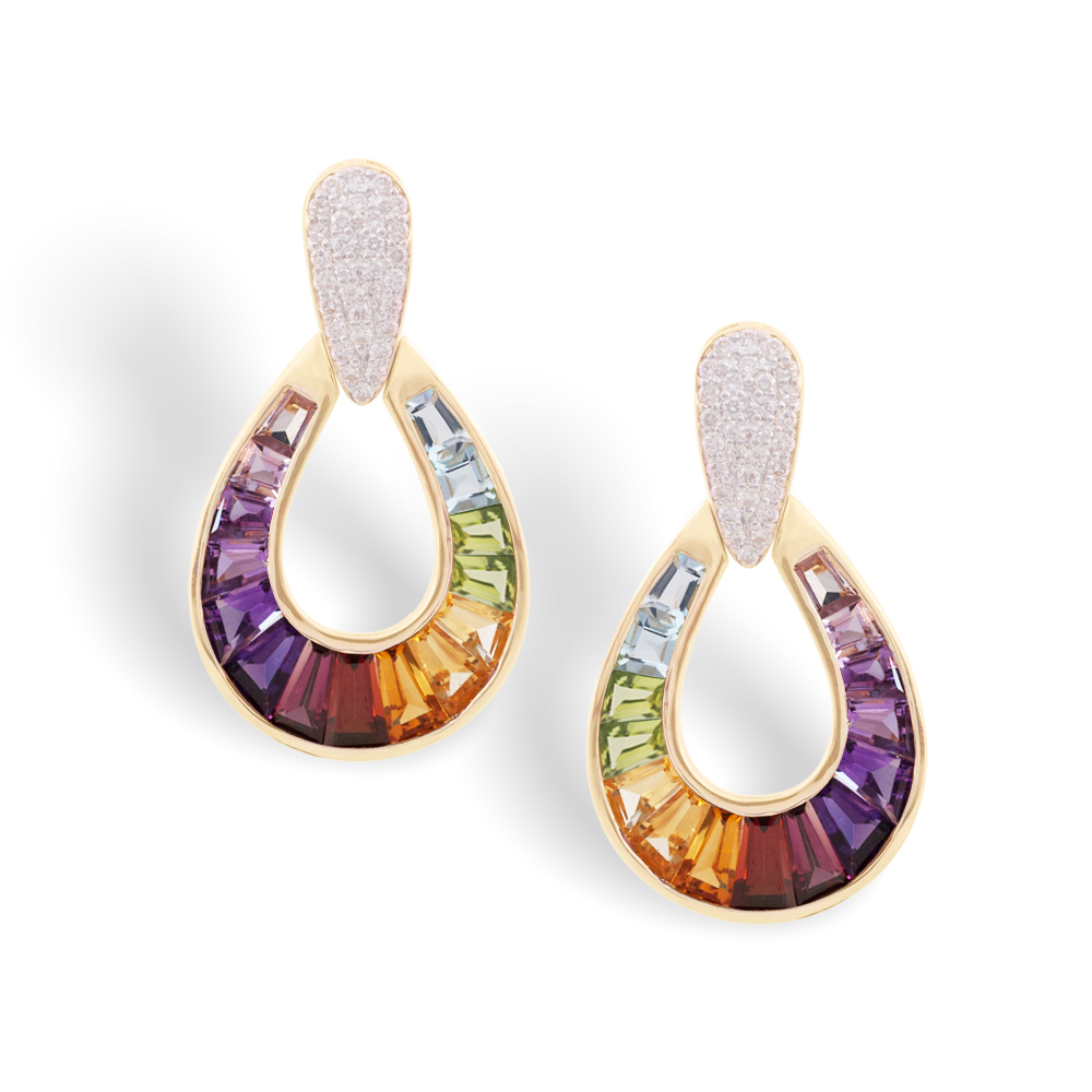 Multicolor Raindrop Earrings Jaipur Jewels - Tapered Baguettes Specialist