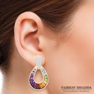 Multicolor Raindrop Earrings Jaipur Jewels - Tapered Baguettes Specialist with Model