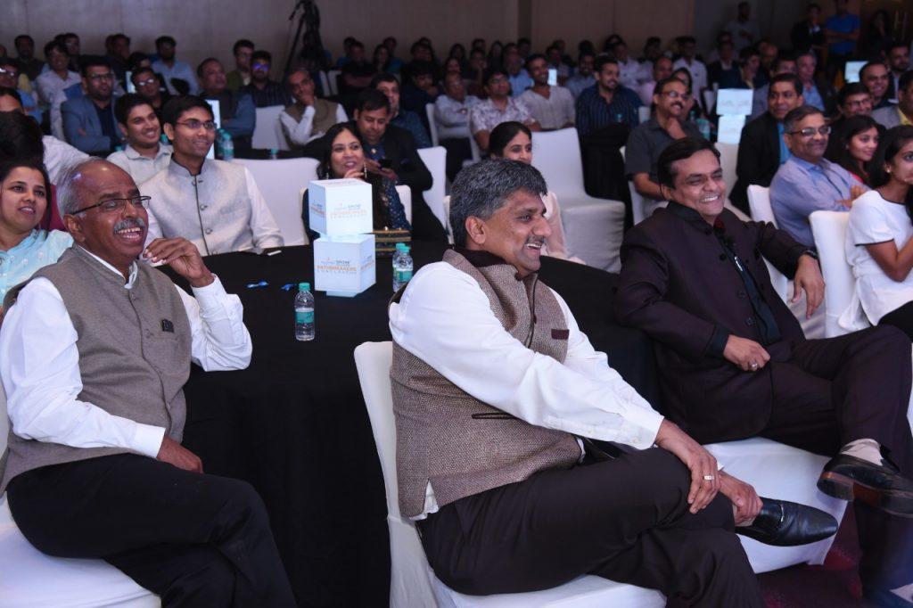 Dr Velumani, Mr Shailen Mehta & Mr Jignesh Mehta enjoying Atul Khatri's act