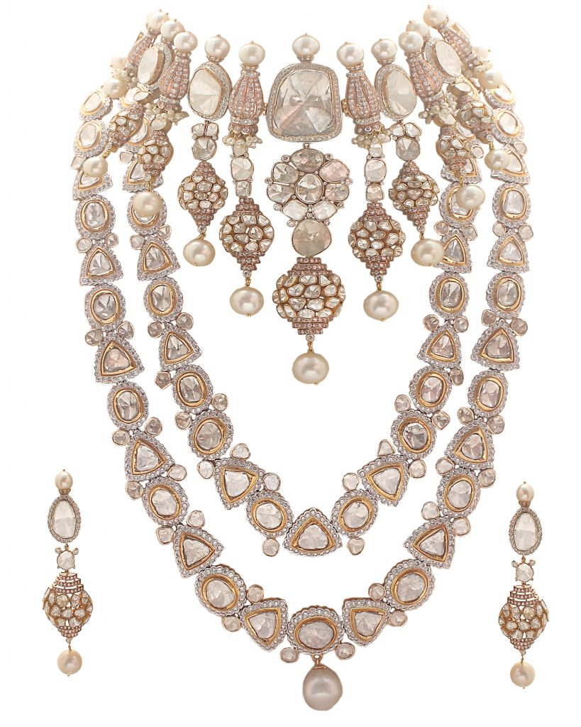Bridal Necklace Set by ANMOL crafted in 18 K gold and set with pearls and uncut diamonds in pastel shades