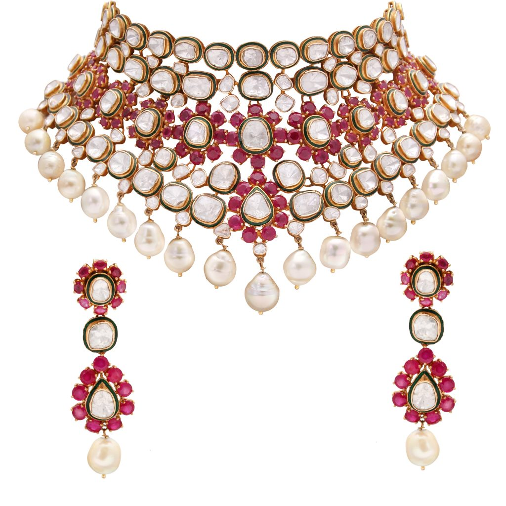 Necklace Set by ANMOL crafted in 18 K gold and set with rubies, pearls and uncut diamonds