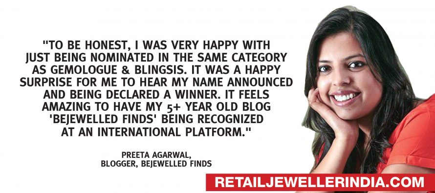'Bejewelled Finds' by Preeta Agarwal wins the title of  'Jewellery Blogger of the Year 2019' at Leading Lights Awards at International Jewellery London Show