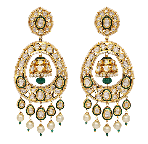 22K-Gold-earrings-studded-with-diamondsand-pearls-and-green-beads-with-green-enamelling