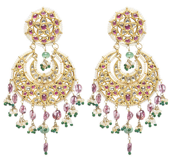 22K-Gold-festive-Chandbalis-with-Pink-pastel-beadswhite-and-green-small-beads-crafted