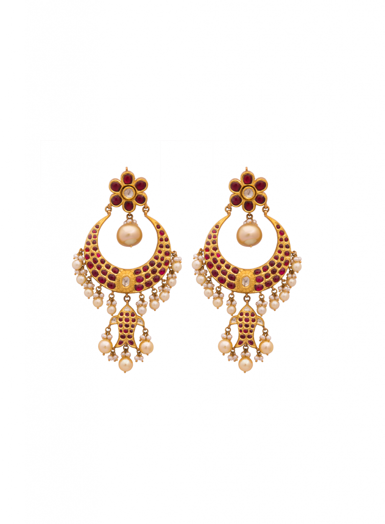 22KGold-earings-with-PearlsRubies-and-Polki