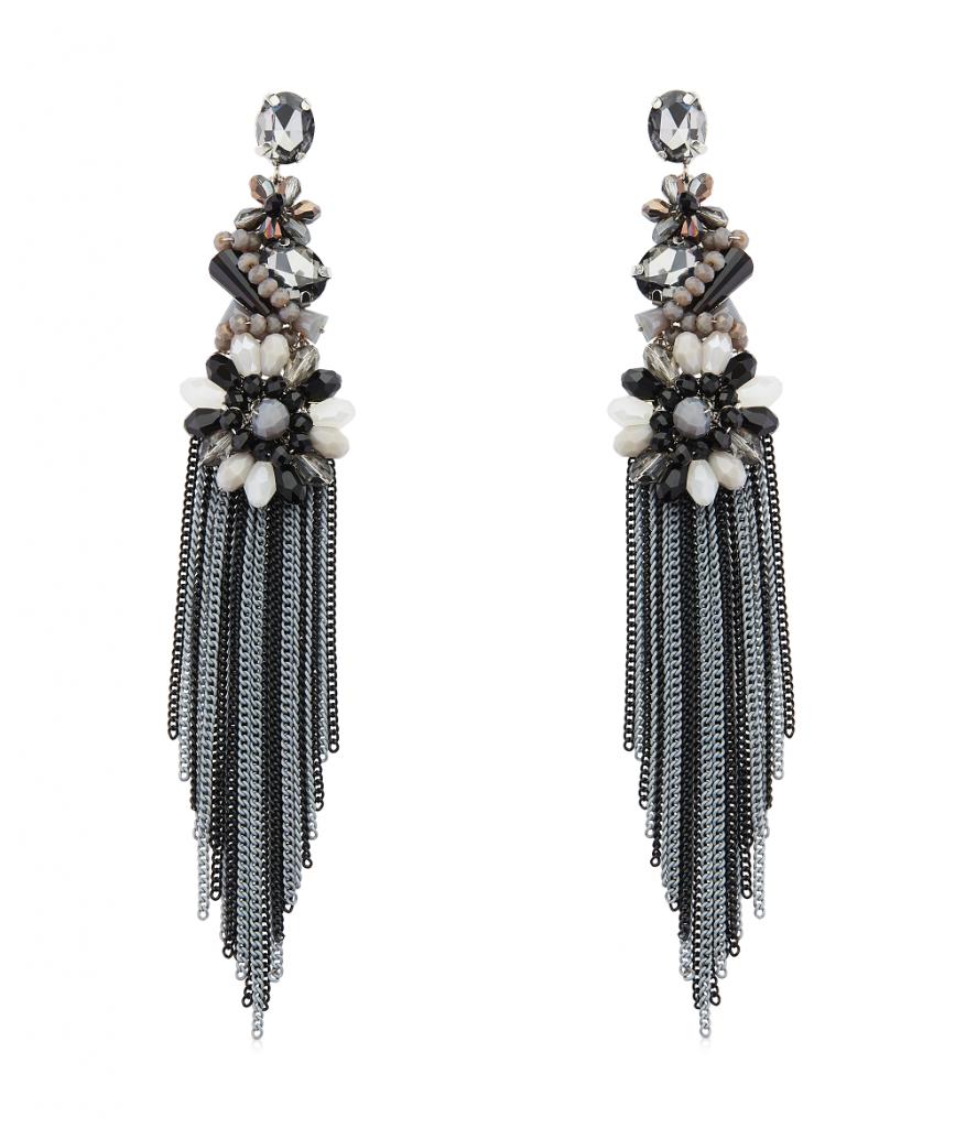 Abstract Monochrome Long Tassel Earrings by Izaara