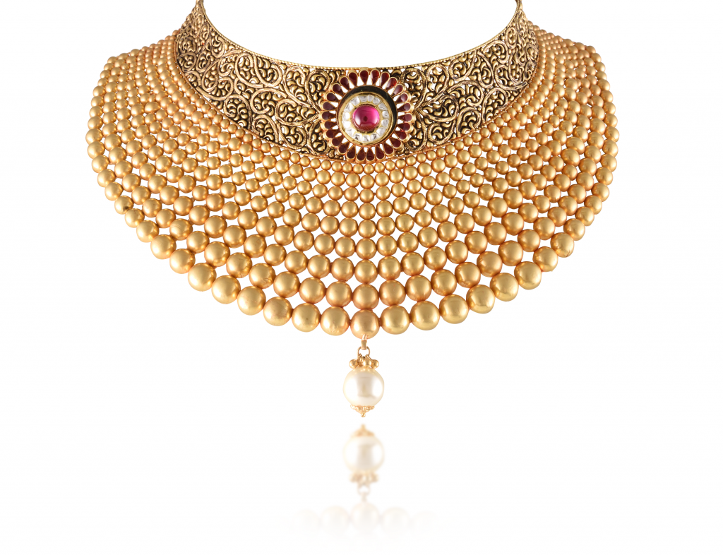Bridal Necklace crafted in 22K gold by Aisshpra Gems and Jewels