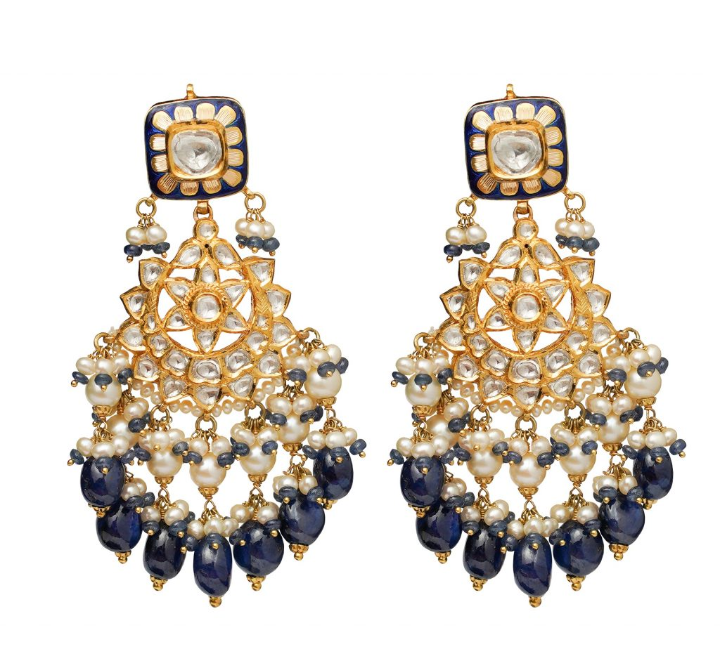Danglers-with-sapphire-blue-beads-and-white-pearls-crafted-in-polki-and-22K-gold