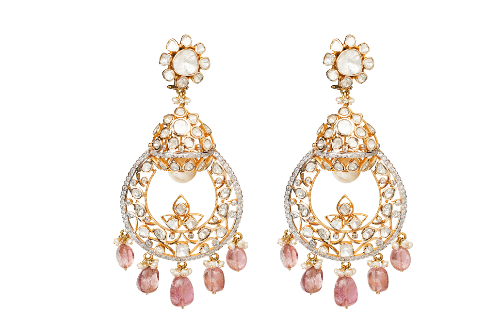 Earrings-crafted-with-polki-and-uncut-diamonds-in-22K-Gold-with-pastel-pink-beads