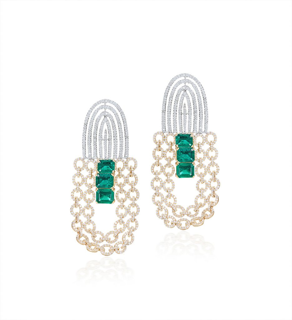 Emerald and Rose Gold diamond earring