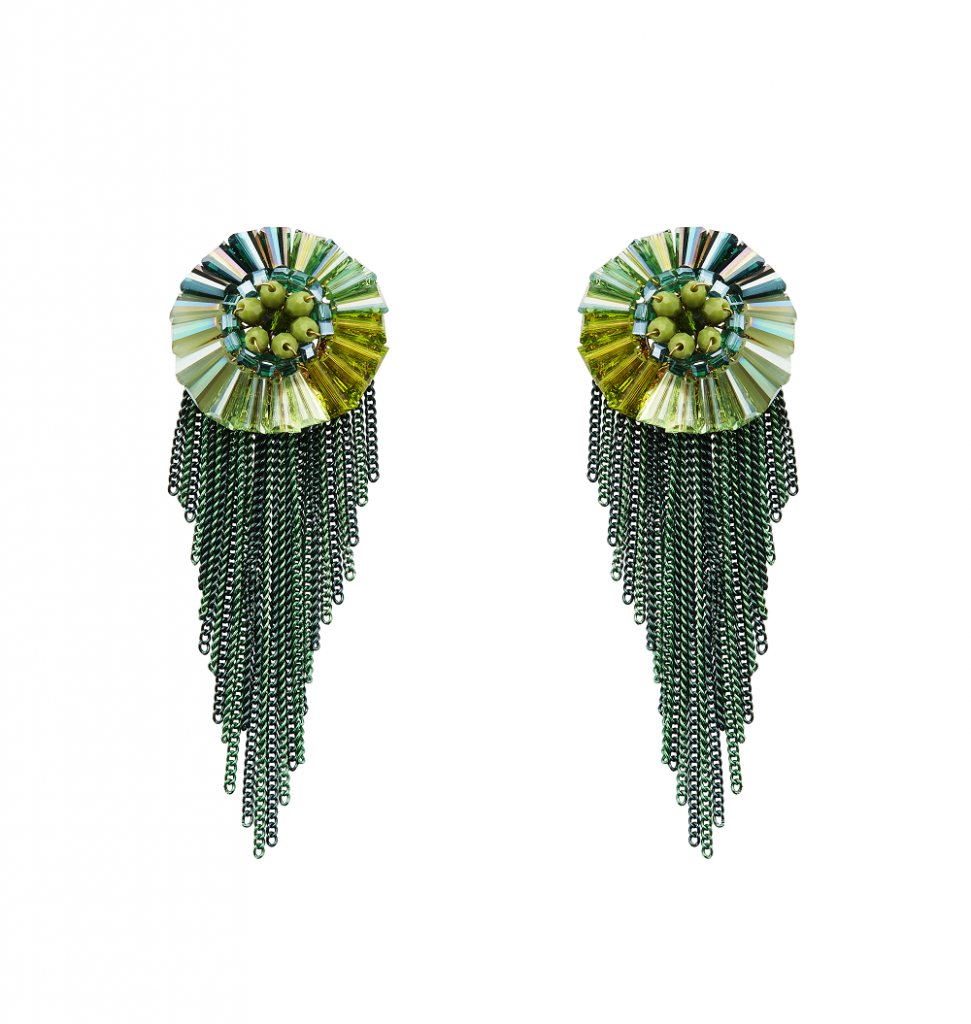 Forest green beaded tassels with floral inspired stud in different shades of green crafted by Izaara