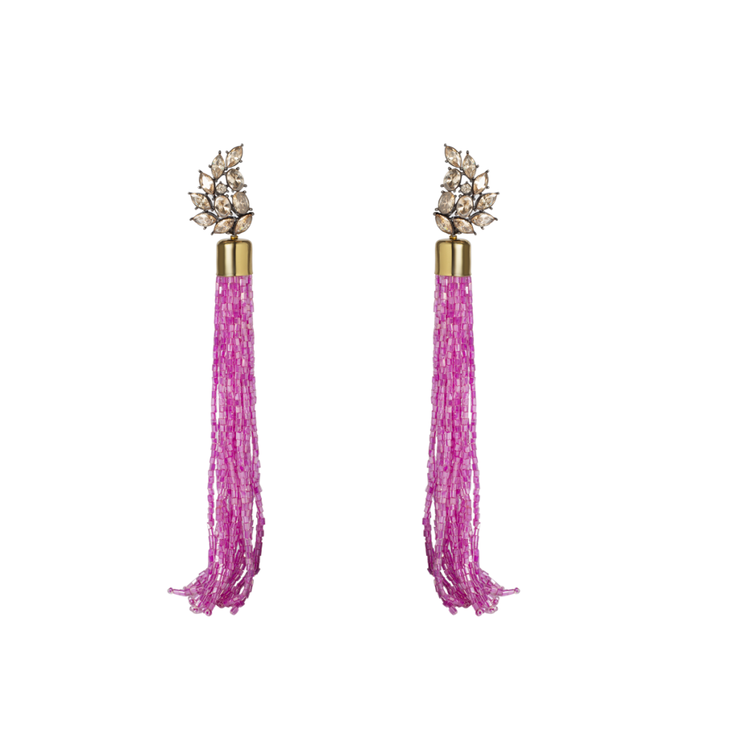 Fuchsia pink long tasseled earrings with leaf shaped stud tops crafted by Izaara