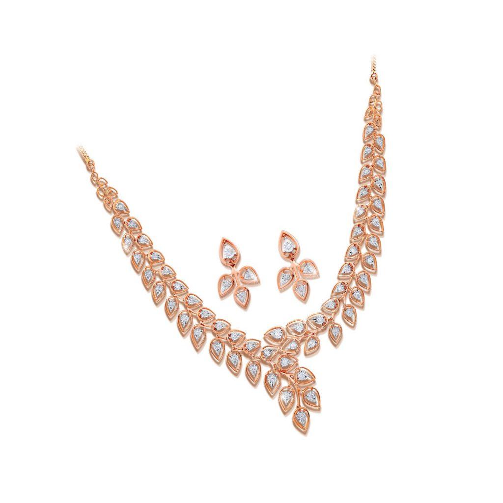 Joyalukkas 18k Rose Gold and Diamond Jewellery Set