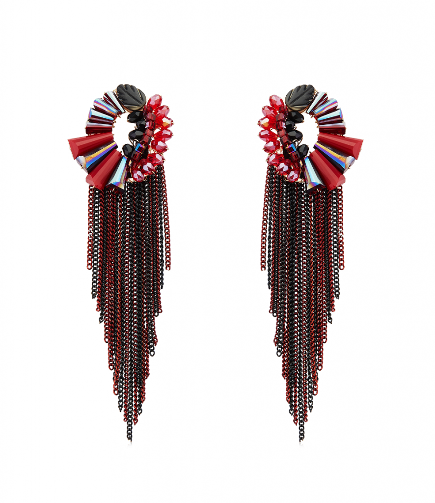 Mahogany and jam color long beaded tassel earrings with Abstract design stud crafted by Izaara