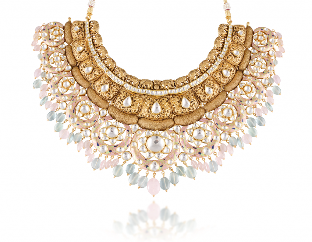 Necklace-crafted-in-22K-gold-with-pastel-meenakari-intricate-nakshi-kundan-work-and-colorful-beads