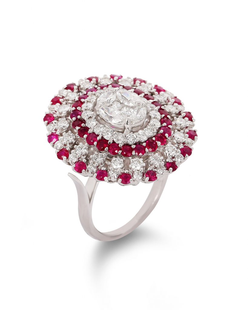 Ruby Cocktail Diamond Ring