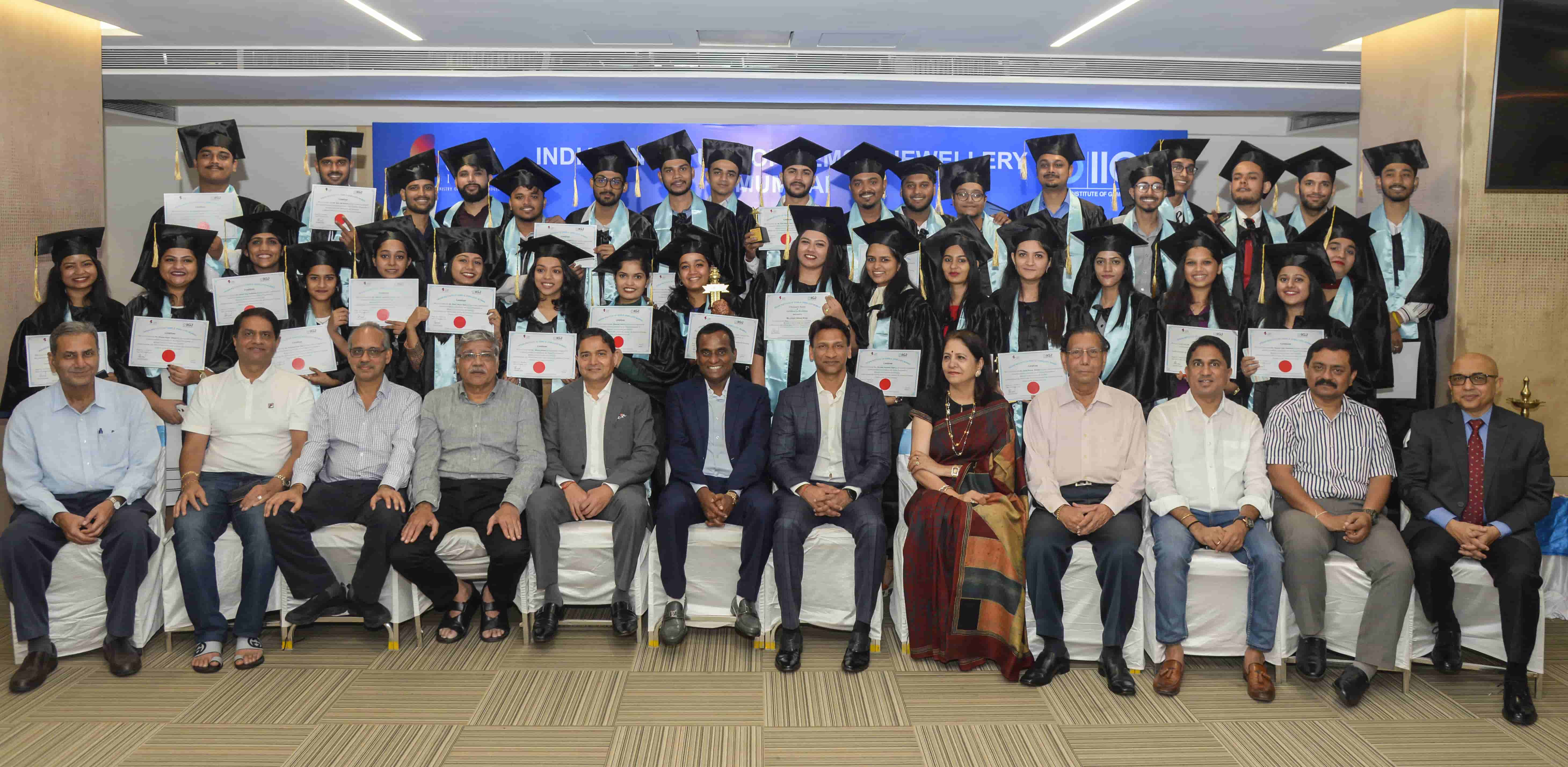 Graduate students with the dignitaries.