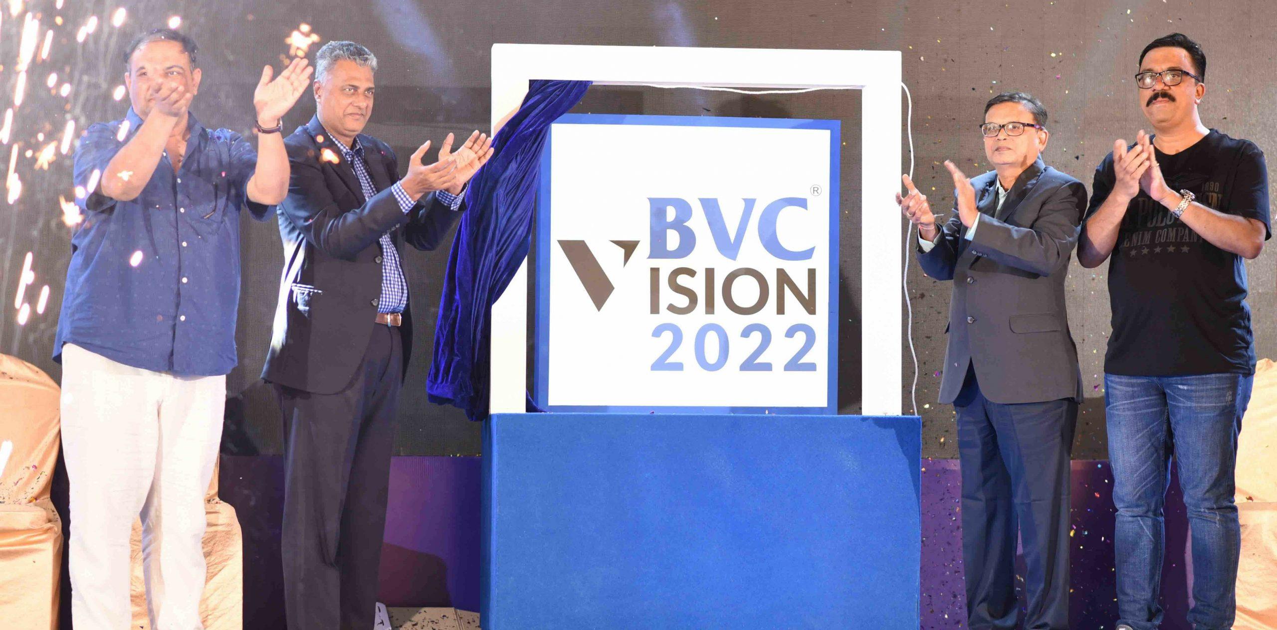 Mr Rajesh Neelakanta, CEO, BVC Logistics, Mr Uday Chinai, Chairman, BVC Logistics, Mr Bharat Badani, President, BVC Clearance & Mr Yogesh Bansode, President, BVC Brinks unveiling the Vision 2022.