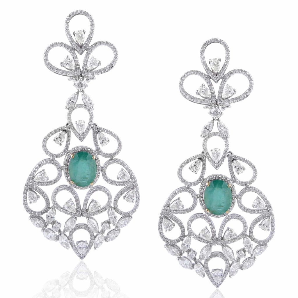Diamond and emerald earrings by RK Jewellers South Extension