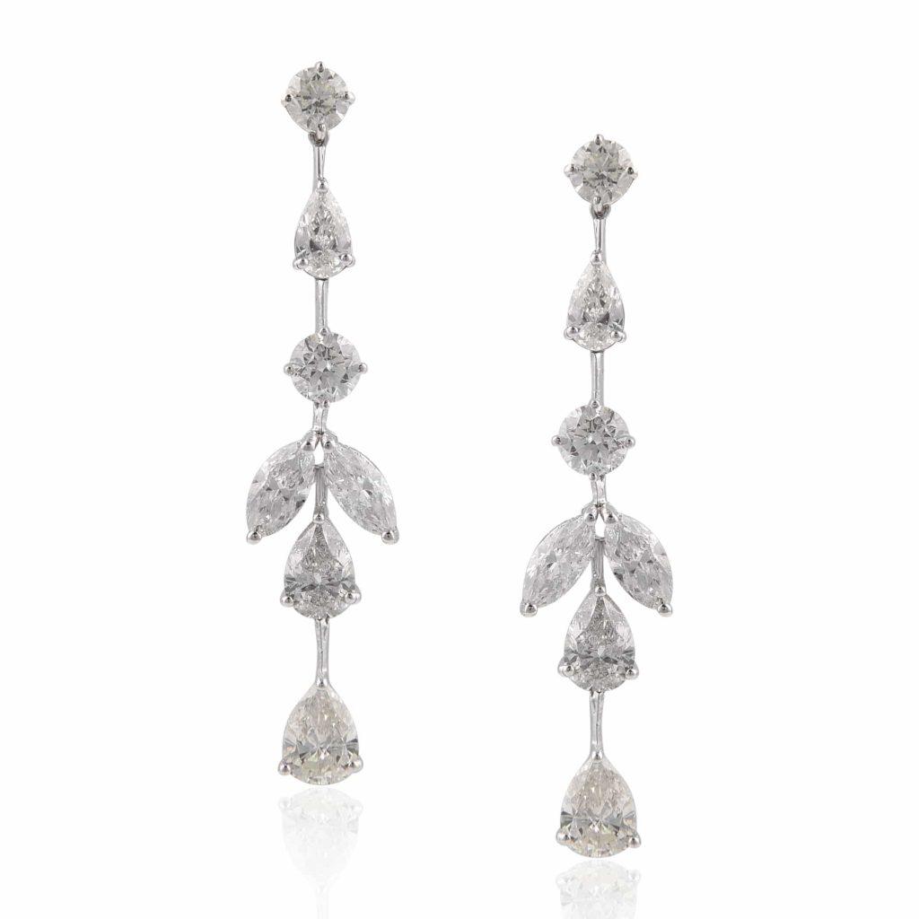 Diamond drop earrings by RK Jewellers South Extension