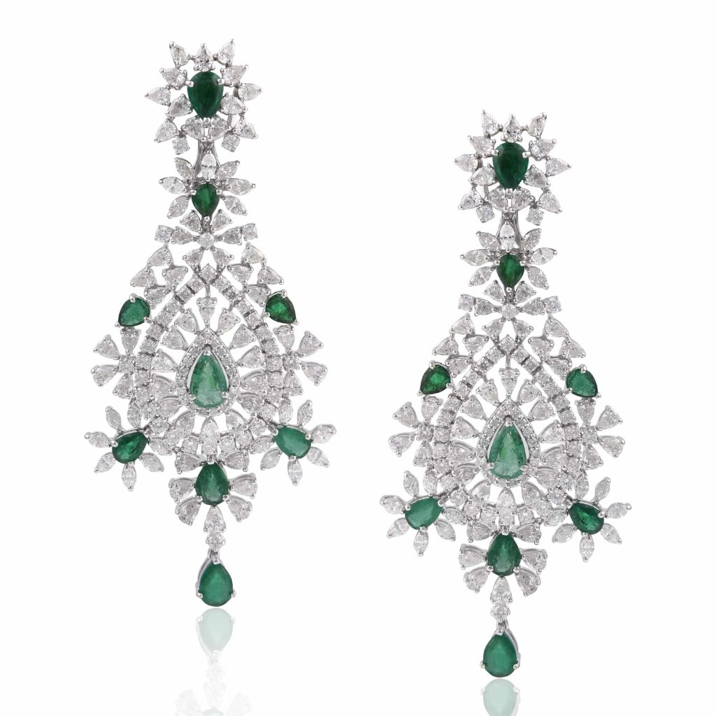 Diamond with green stone earrings by RK Jewellers South Extension 2
