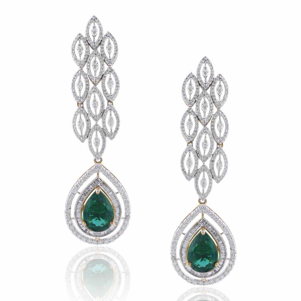 Drop diamond earrings by RK Jewellers South Extension 2