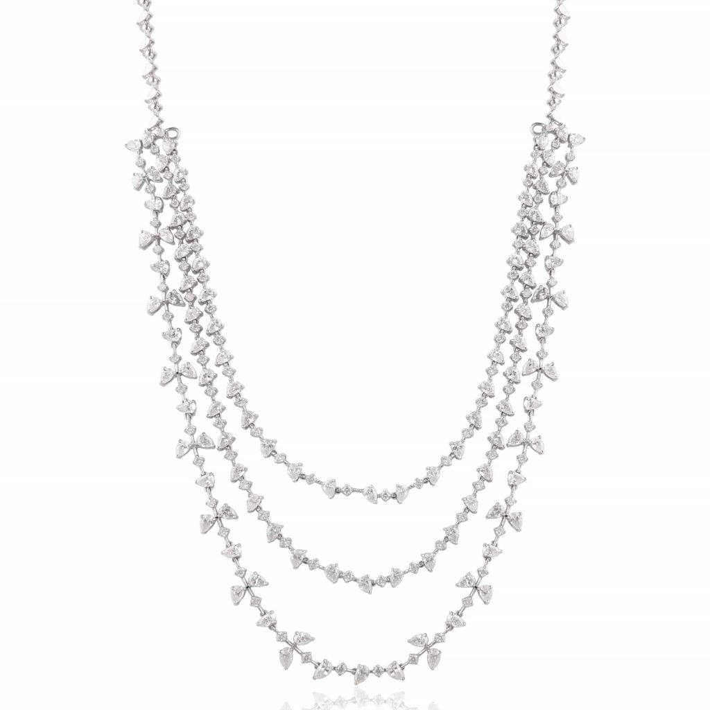 Multi layered diamond necklace by RK Jewellers South Extension 2