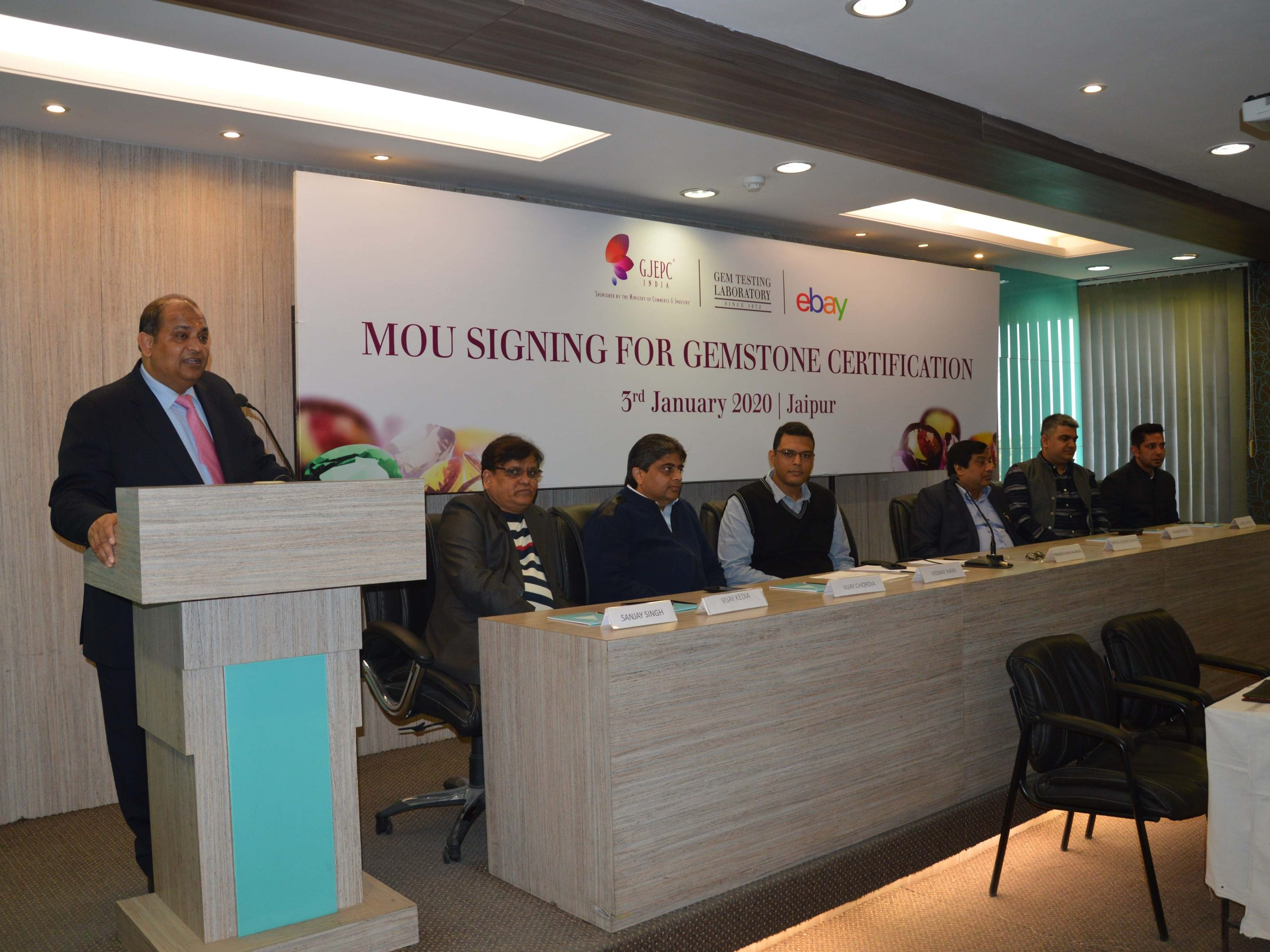 Mr. Pramod Agrawal, Chairman, GJEPC addressing the audience at the MoU signing ceremony