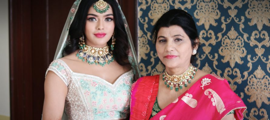 Actress Sonyaa Ayodhya & her mother don The Riyasat Collection by Tanya Rastogi for Lala Jugal Kishore Jewellers at her wedding
