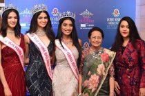 VLCC Femina Miss India 2020 Manasa Varanasi make her first Appearance with runner ups at Shobha Shringar Jewellers in esteemed presence of Ms. Amrutaji Fadnavis